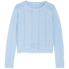 Carven Pointelle-knit cotton-blend sweater ($360) ❤ liked on Polyvore featuring tops, sweaters, blue, slimming tops, carven sweater, slim fit sweater, blue sweater and blue top