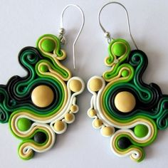Oriental Green Earrings Earrings made from Fimo polymer clay, and with high quality hypoallergenic earwires. The size of earrings without earwires is approx. 5 cm, with biglami approx. 6.5 cm. Earrings are lightweight and very solidly done. See my entire gallery in KuferArt!