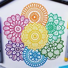 Here are some easy Mandala design and drawing on canvas ideas for therapy and inner healing. Doodle Art Drawing, Zentangle Drawings, Mandala Drawing, Mandala Painting, Zentangle Patterns, Art Drawings, Zentangles, Zentangle Art Ideas, Flower Drawings