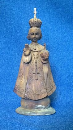 """Antique / Vintage Infant Jesus of Prague Hand Carved Wood Statue, 12 1/4"""""""