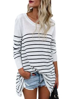 302d1b1609b Women Crew Neck Stripes Loose Knit Sweater Pullover Tops - White -  C3185O4LLTT