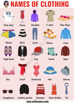 Types of Clothing: Useful List of Clothing Names with the Picture - ESL Forums English Verbs, English Vocabulary Words, Learn English Words, English Writing, English Study, English Grammar, English Class, English Language Course, English Language Learning