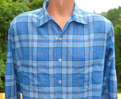 vintage 50s shirt blue PLAID button down loop collar penn prest Large Medium 60s at SkippyHaha.com