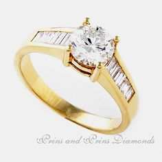 Centre stone is a round brilliant cut diamond with of baguette diamonds channel set in yellow gold Diamond Solitaire Rings, Baguette Diamond, Thing 1, Gold Rings, Sparkle, Rose Gold, Engagement Rings, Centre, Channel