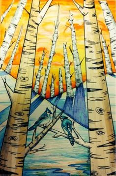 The Lost Sock : Birch Tree winter scape..scroll down page for really cool art lesson.