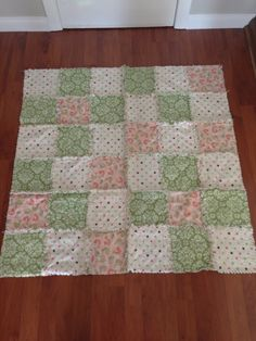 Baby Girl Shabby Chic Birdie Quilt with Burp Cloth. via Etsy.