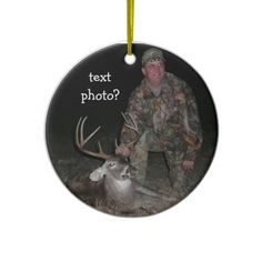 Christmas Collection Deer Hunter Add Photo Christmas Tree Ornament