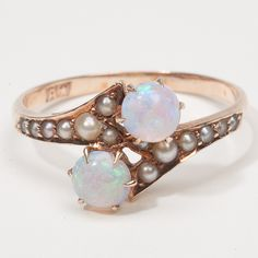 Victorian opal and seed pearl ring.