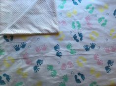 Large Baby Blanket, Receiving, Swaddle, Reversible, Footprints, Handprints, Multicolor, Polka Dots, Baby Girl, Pink, Baby Shower Gift by QuinnsBin on Etsy https://www.etsy.com/listing/242708337/large-baby-blanket-receiving-swaddle