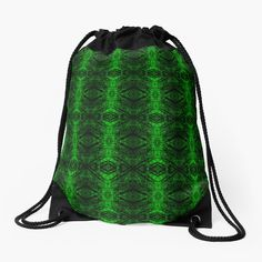 'Chic Abstract Emerald Green Pattern' Drawstring Bag by HavenDesign Backpack Bags, Tote Bag, Drawstring Bags, Green Pattern, Iphone Wallet, Emerald Green, Woven Fabric, Color Patterns