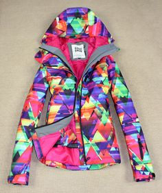 2013 new fashion Gsou snow women snowboarding ski jackets colorful geometric winter warm waterproof  brand clothes free shipping US $109.15