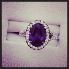 Amethyst surrounded by diamonds Purple Engagement Rings, Tanzanite Engagement Ring, Rings Tumblr, Tanzanite Jewelry, Purple Sapphire, Beautiful Rings, Wedding Jewelry, Wedding Ring, Jewels