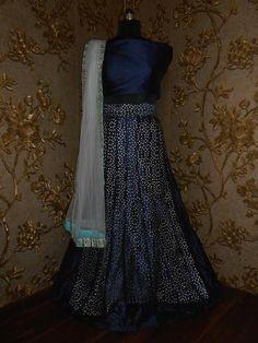 Midnight Blue Bollywood Replica Indian Lehnga Choli
