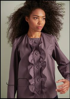 Deep romantic Fashion Designer, Spring, Ruffle Blouse, Romantic, Deep, Tops, Women, Eggplant, Dressing Up