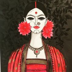 24 Ideas for contemporary art painting portrait inspiration Indian Women Painting, Indian Art Paintings, Modern Paintings, Madhubani Art, Madhubani Painting, Kalamkari Painting, Lotus Painting, Painting Walls, Rajasthani Painting