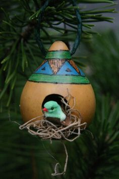 Rustic Birdhouse Gourd Ornament,  Blue and Green Gourd Birdhouse, Miniature Bird House, Winter Decor, Natural Ornament