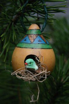 Rustic Birdhouse Gourd Ornament,  Blue and Green Gourd Birdhouse, Miniature Bird House, Winter Decor, Natural Ornament