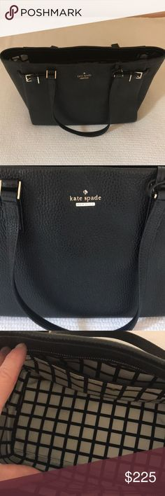 Kate Spade ♠️ Handbag. Authentic Holden Street Finn, pebble leather, buckle accents, dual handles, logo outside and in. Black and white interior. Carried a few times, excellent quality and condition. kate spade Bags