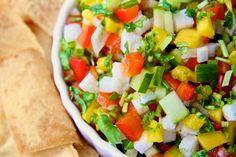 Mango, Jicama and cucumber salsa/relish/salad Easy Spanish Recipes, Mexican Food Recipes, Ethnic Recipes, Jicama Recipe, Salsa Recipe, Healthy Cooking, Healthy Eating, Healthy Recipes, Healthy Food