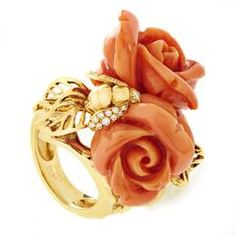 Dior Pré Catelan Coral Diamond Gold Rose prsten