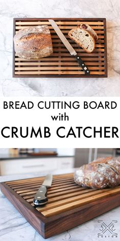 Custom bread cutting board with built in crumb catcher. Wood Shop Projects, Diy Furniture Projects, Woodworking Projects Diy, Custom Cutting Boards, Diy Cutting Board, Wooden Bread Box, Tips And Tricks, Bread Board, Wooden Diy