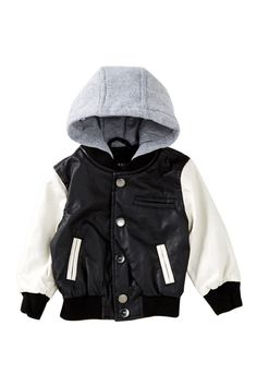 Fleece Hooded Faux Leather Varsity Jacket (Baby Boys) by Urban Republic on Boys Fall Fashion, Baby Boy Fashion, Baby Kids Wear, Leather Varsity Jackets, Carters Baby Boys, Cold Weather Outfits, Baby Boy Outfits, Nordstrom Rack, Hooded Jacket