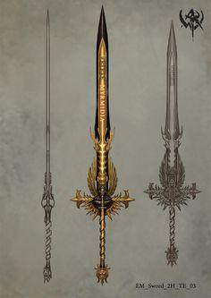 ArtStation - Warhammer Online(2009), ji zhang Fantasy Sword, Fantasy Weapons, Anime Fantasy, Armor Concept, Weapon Concept Art, Warhammer Online, Dragon Knight, War Hammer, Warhammer Fantasy