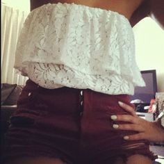 Lace tube top and maroon high waisted shorts