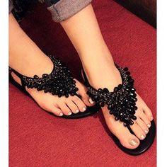 Rhinestone Sandals Women's Shoes | Bohemia Beaded Rhinestone Sandals Flat Heel Fashion Women's Sandals ...