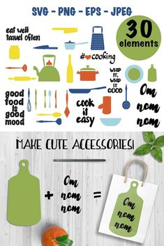 Cute kitchen utensils vector clipart! There are 20 utensils elements in it and 6 hand lettered foodie quotes. This baking tools clip art is in bright and festive colors. Kitchen items in this set are in SVG, PNG, EPS and JPEG formats. #etsyshop #clipart #svg