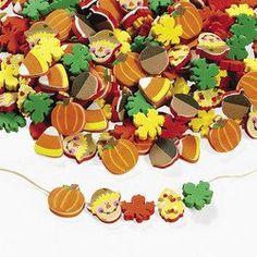 Amazon.com: 100 Harvest Autumn Foam Beads - Pumpkin Scarecrow Candy Corn Leaves Acorn: Arts, Crafts & Sewing