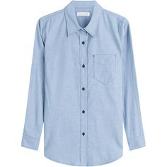 Isabel Marant Etoile Cotton William Button Down Shirt (380 BRL) ❤ liked on Polyvore featuring tops, shirts, blouses, blue, cotton button down shirts, long sleeve shirts, blue shirt, long sleeve tops and button up shirts