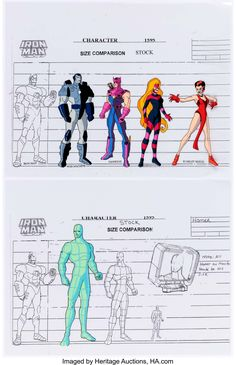 Iron Man Character Size Comparison/Color Model Cel Group of 4 (Marvel Films, Group of original - Available at Sunday Internet Comics Auction.