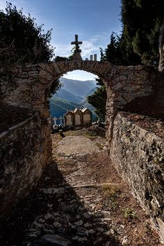 """Graveyard in Triora, Italy, known for being the """"town of witches""""."""
