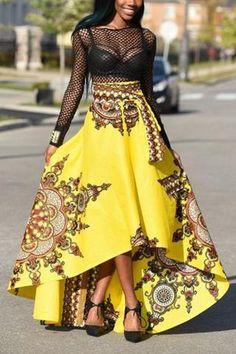 d5194ff99f High Waist Printed Asymmetrical Floor length Skirts - ROASO - 1 Cotton Skirt,  African Wear