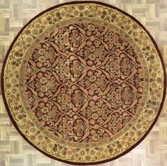 Handmade and tufted circular area rug with floral designs in burgundy with gold accents, 6x6. Imported from India with wool. Free Shipping within the US.