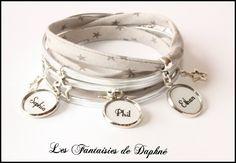 bracelet 3 tours tissu liberty gris prénom personnalisable : Bracelet par dafi51