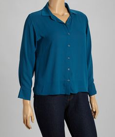 Look at this #zulilyfind! Teal Classic Button-Up - Plus by Freshmint #zulilyfinds