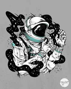 by Tony Riff Space is so ghetto White colour printed on luxurious fine art paper Grey colour printed on semigloss paper Available in 2 sizes Signed and dated Art And Illustration, Astronaut Illustration, Illustrations, Space Drawings, Art Drawings, Hipster Drawings, Couple Drawings, Pencil Drawings, Mayor Tom