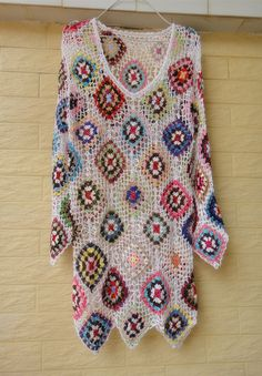 White Crochet Granny Square Dresses Long Sleeve