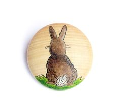 Painted Rabbit Wooden brooch by JullMade on Etsy Rabbit Totem, Handmade Jewelry, Unique Jewelry, Handmade Gifts, Sweet Sweet, New Product, Bunnies, Bee, Arts And Crafts