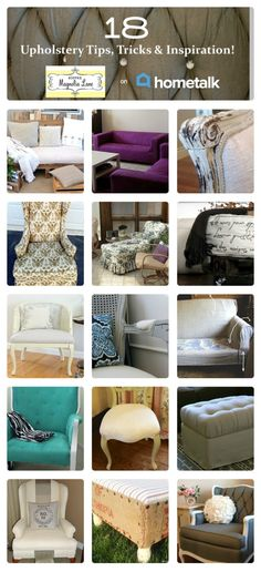 Eighteen amazing upholstery ideas:  11 Magnolia Lane's curated HomeTalk clipboard on Upholstery Tips, Tricks, & Inspiration.  From nailhead trim, to painted fabric, to grain sacks and canvas dropcloths, it's all here!  Great DIY ideas!