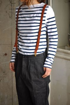 Some days you just have to man up. suspenders, stripes, and men's dress pants. Tomboy Fashion, Kids Fashion, Fashion Outfits, Mode Streetwear, Streetwear Fashion, Outing Outfit, Mens Dress Pants, Looks Style, My Wardrobe
