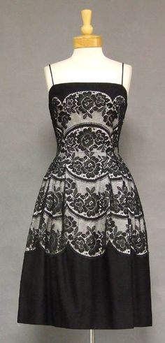Black Lace & Pique Party Dress with white lining showing through the lace