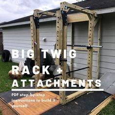 $15 Build plans to DIY wooden power rack for weightlifting Diy Power Rack, Stix And Stones, Weight Rack, Weightlifting, Wooden Diy, Concrete, Gym, Plates, Building