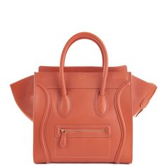 Celine Luggage Tote (30CM) in tangerine smooth calf leather.