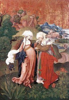 Мастер М. S. Встреча Марии и Елизаветы. Германия, 1500–1510 годы.  Magyar Nemzeti Galéria / Wikimedia Commons