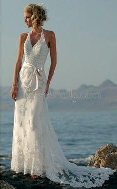 Column / Sheath Halter Chapel Lace Bow Sleeveless Zipper Back Wedding Dresses -- DHB1875