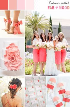 Coral & Pink Wedding Colour Palette #Jellifi