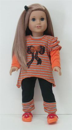 """ORANGE & GRAY STRIPE TOP + PANTS - 18"""" Girl Doll Clothes - An American Boutique"""